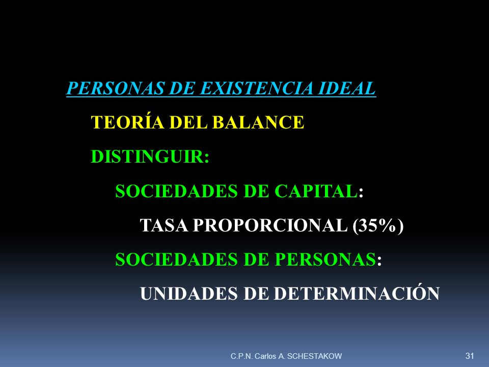 PERSONAS DE EXISTENCIA IDEAL TEORÍA DEL BALANCE DISTINGUIR: