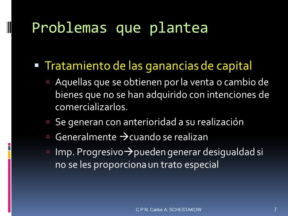 Problemas que plantea Tratamiento de las ganancias de capital