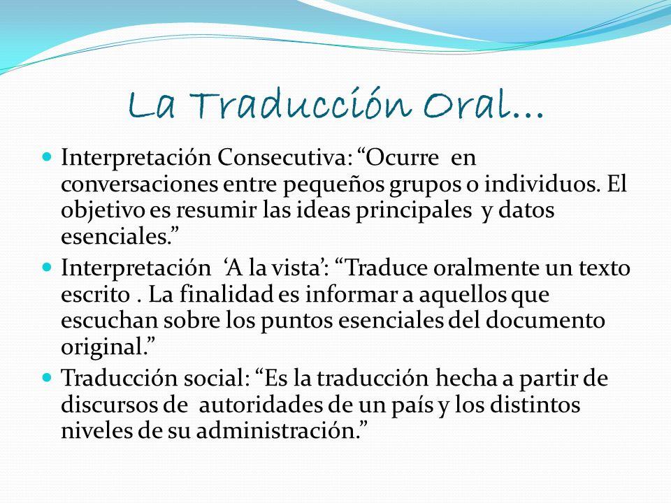 La Traducción Oral...