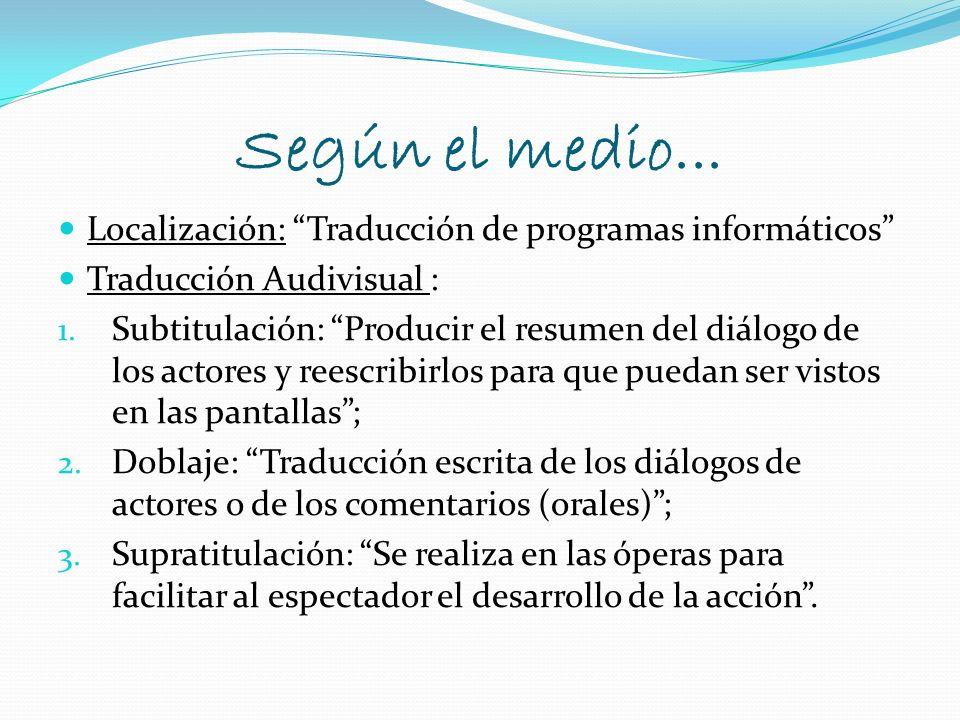 Según el medio... Localización: Traducción de programas informáticos