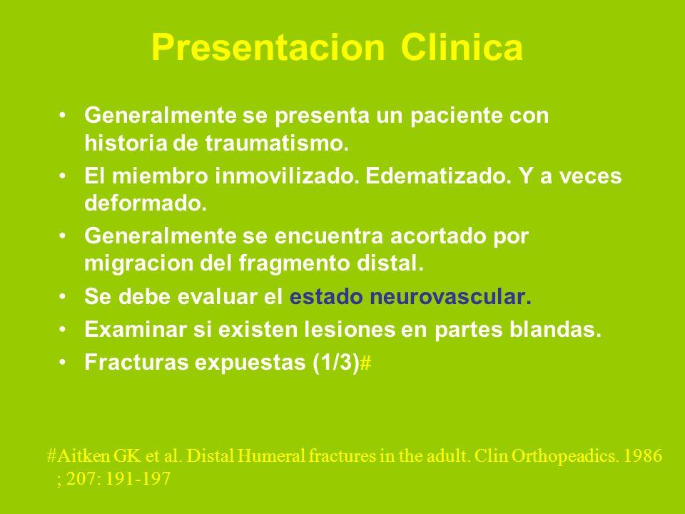 Presentacion Clinica Generalmente se presenta un paciente con historia de traumatismo. El miembro inmovilizado. Edematizado. Y a veces deformado.