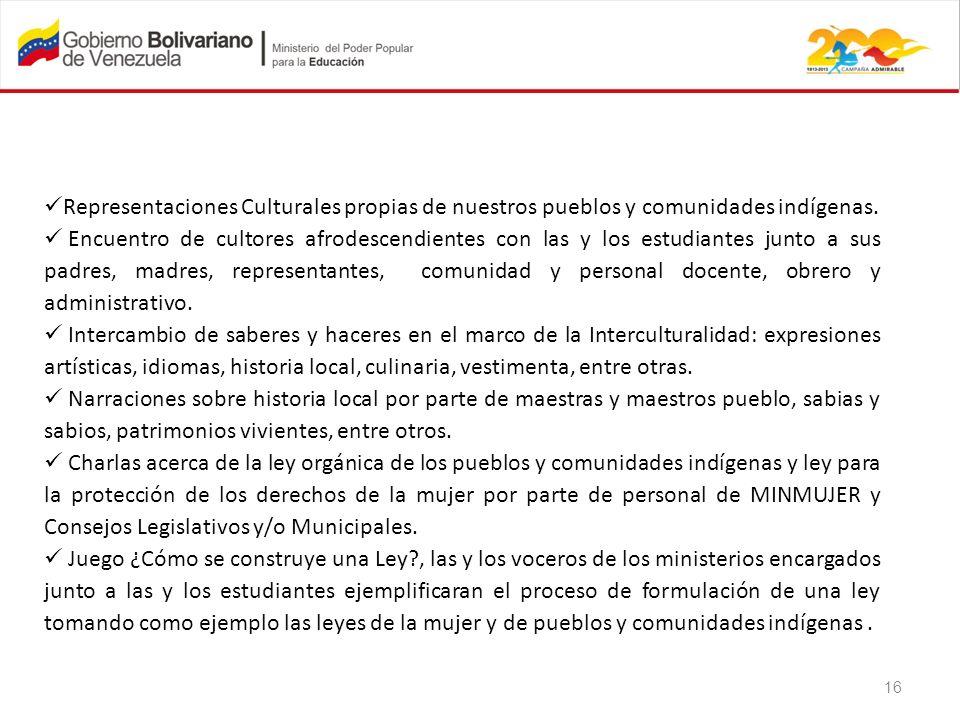 Representaciones Culturales propias de nuestros pueblos y comunidades indígenas.