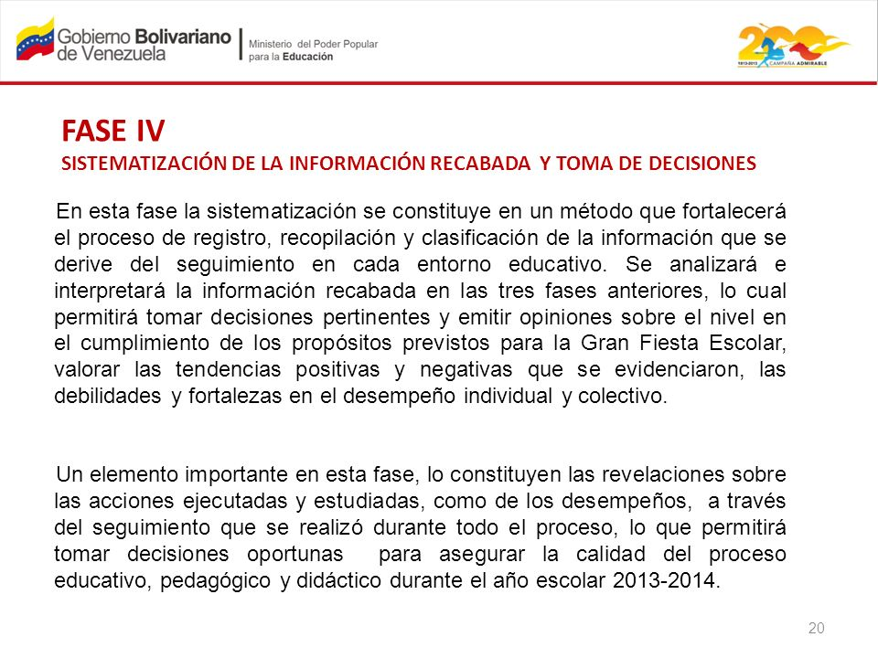 FASE IV SISTEMATIZACIÓN DE LA INFORMACIÓN RECABADA Y TOMA DE DECISIONES.