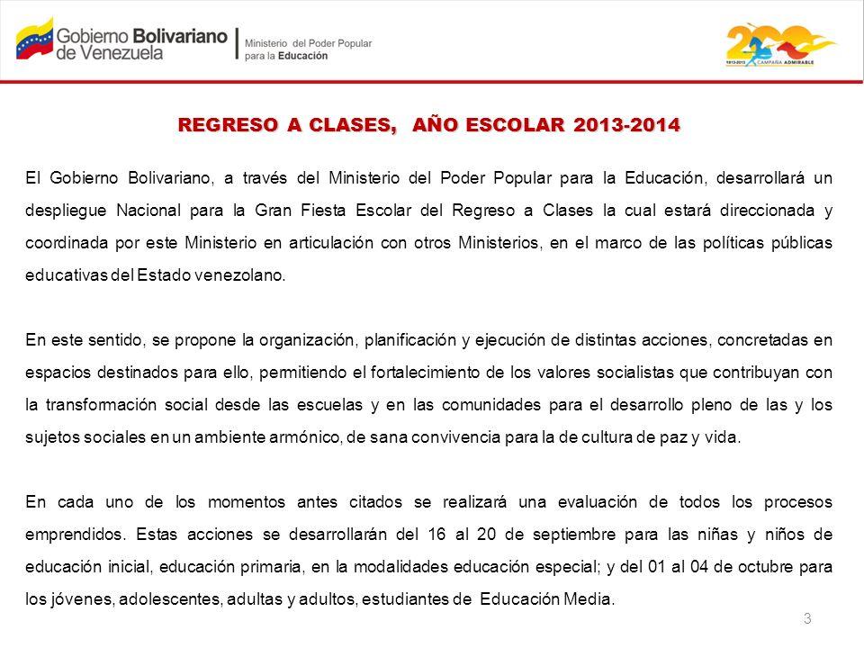 REGRESO A CLASES, AÑO ESCOLAR 2013-2014