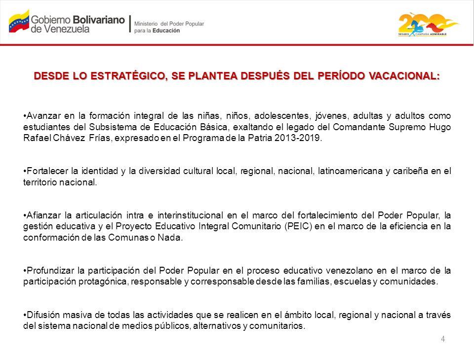 DESDE LO ESTRATÉGICO, SE PLANTEA DESPUÉS DEL PERÍODO VACACIONAL: