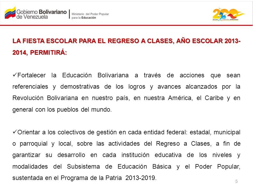 LA FIESTA ESCOLAR PARA EL REGRESO A CLASES, AÑO ESCOLAR 2013-2014, PERMITIRÁ:
