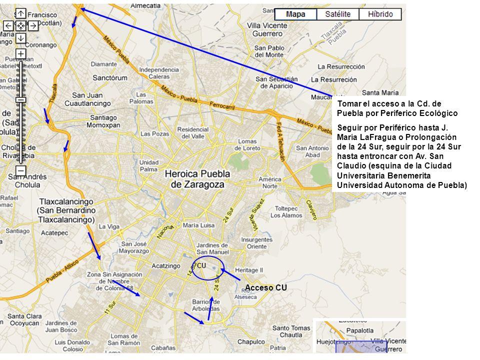 Tomar el acceso a la Cd. de Puebla por Periferico Ecológico