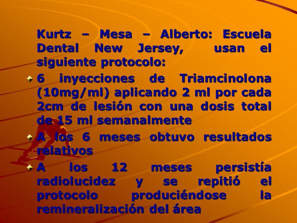 Kurtz – Mesa – Alberto: Escuela Dental New Jersey, usan el siguiente protocolo: