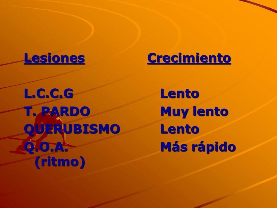 Lesiones CrecimientoL.C.C.G Lento.T. PARDO Muy lento.