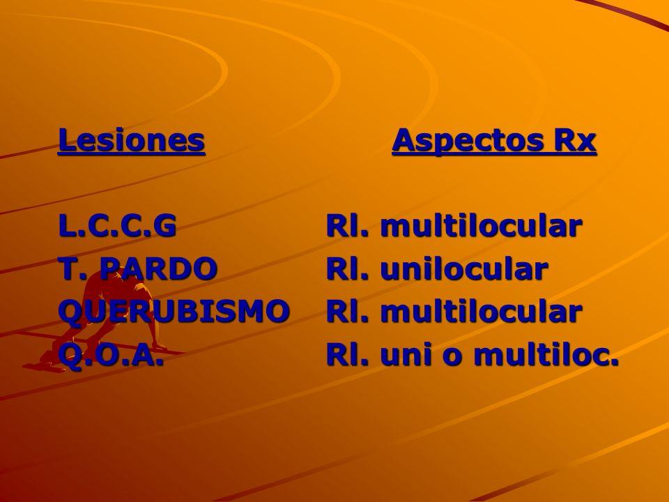 Lesiones Aspectos Rx L.C.C.G Rl. multilocular. T. PARDO Rl. unilocular. QUERUBISMO Rl. multilocular.