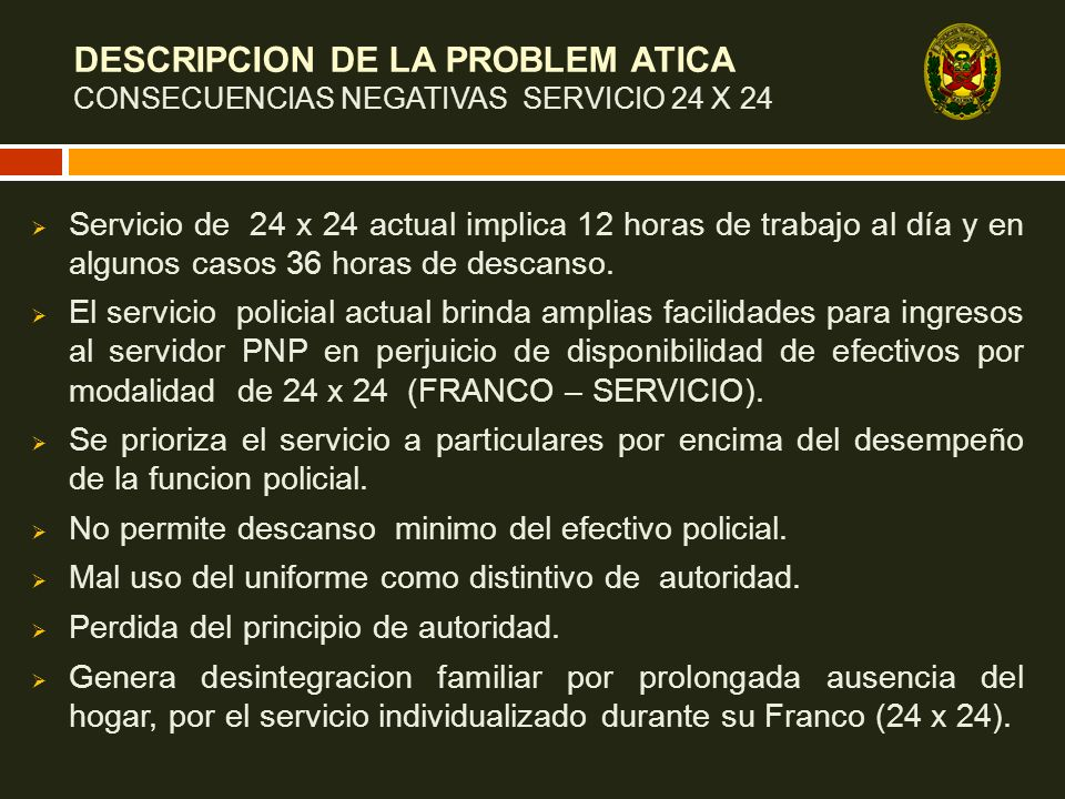 DESCRIPCION DE LA PROBLEM ATICA CONSECUENCIAS NEGATIVAS SERVICIO 24 X 24