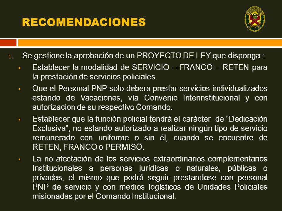 RECOMENDACIONES Se gestione la aprobación de un PROYECTO DE LEY que disponga :