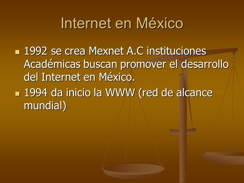 Internet en México1992 se crea Mexnet A.C instituciones Académicas buscan promover el desarrollo del Internet en México.