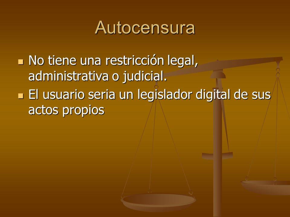 Autocensura No tiene una restricción legal, administrativa o judicial.