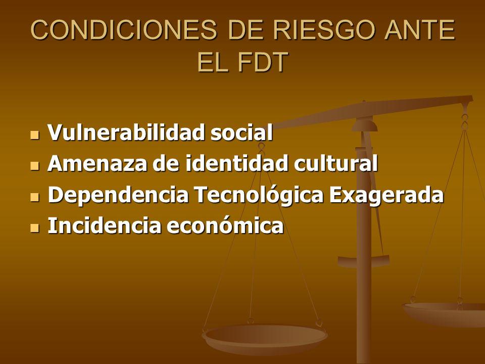 CONDICIONES DE RIESGO ANTE EL FDT