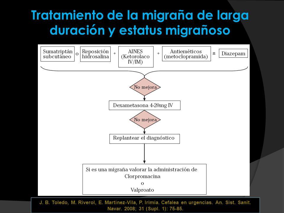 Tratamiento de la migraña de larga duración y estatus migrañoso