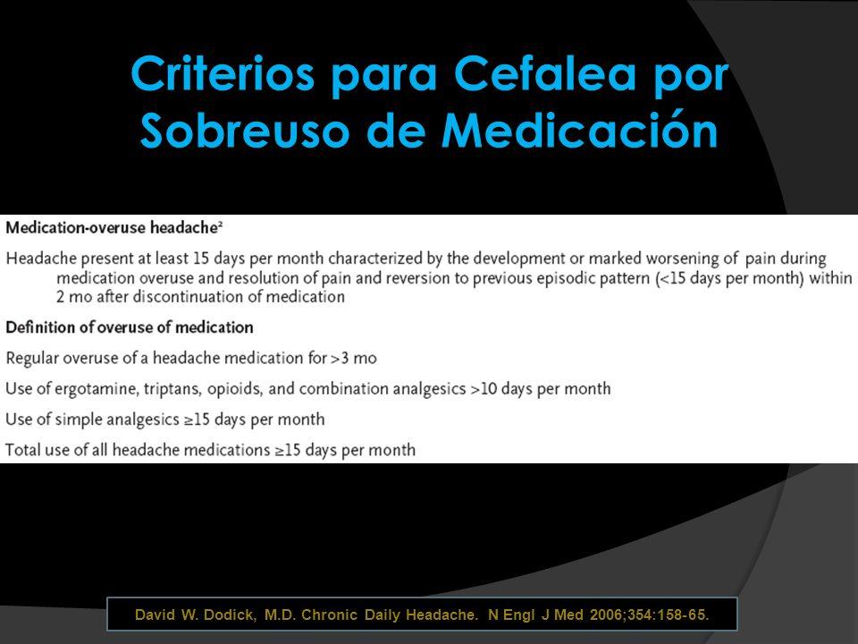 Criterios para Cefalea por Sobreuso de Medicación