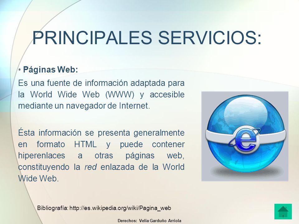 PRINCIPALES SERVICIOS: