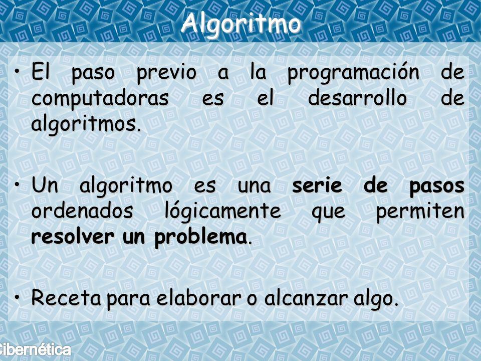 Algoritmo El paso previo a la programación de computadoras es el desarrollo de algoritmos.
