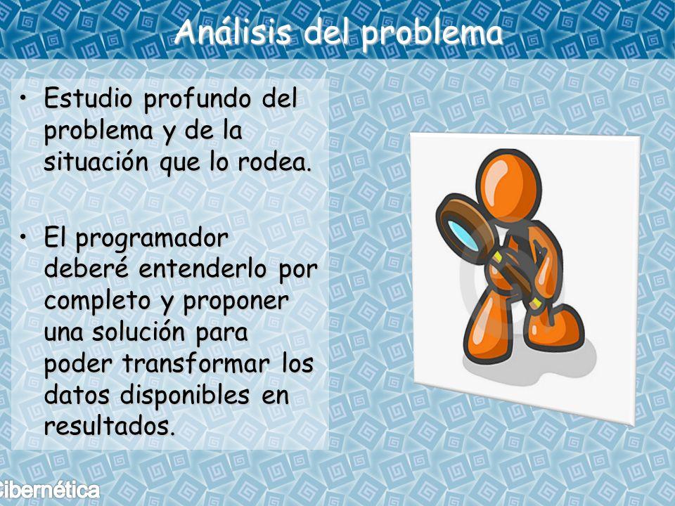 Análisis del problema Estudio profundo del problema y de la situación que lo rodea.