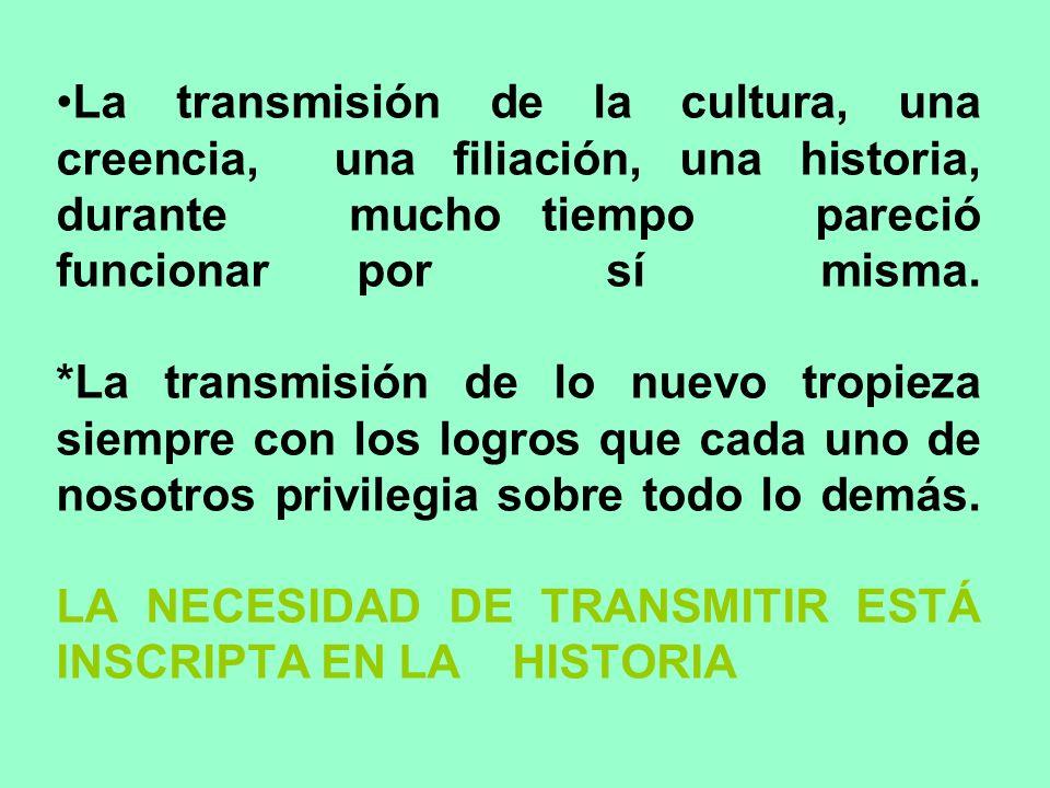 La transmisión de la cultura, una creencia, una filiación, una historia, durante mucho tiempo pareció funcionar por sí misma.
