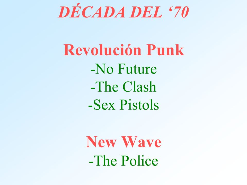 DÉCADA DEL '70 Revolución Punk -No Future -The Clash -Sex Pistols New Wave -The Police