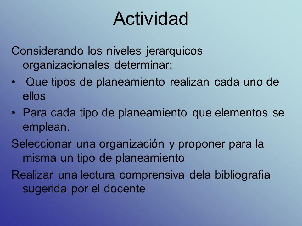 ActividadConsiderando los niveles jerarquicos organizacionales determinar: Que tipos de planeamiento realizan cada uno de ellos.