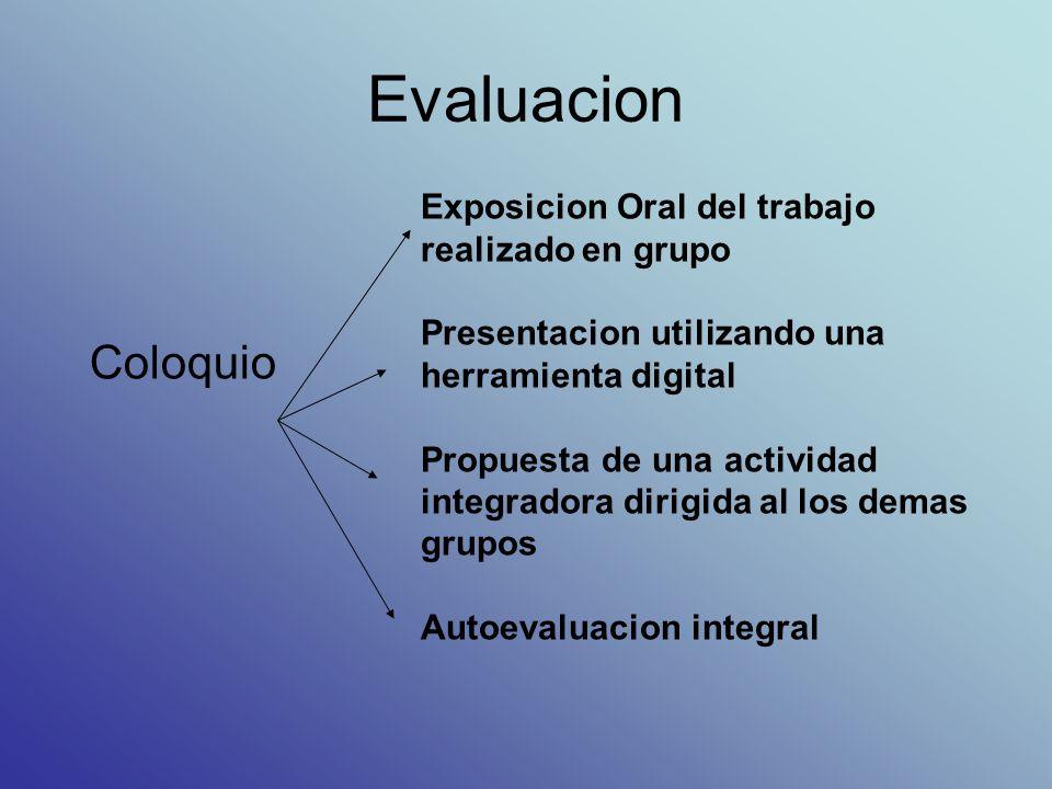 Evaluacion Coloquio Exposicion Oral del trabajo realizado en grupo