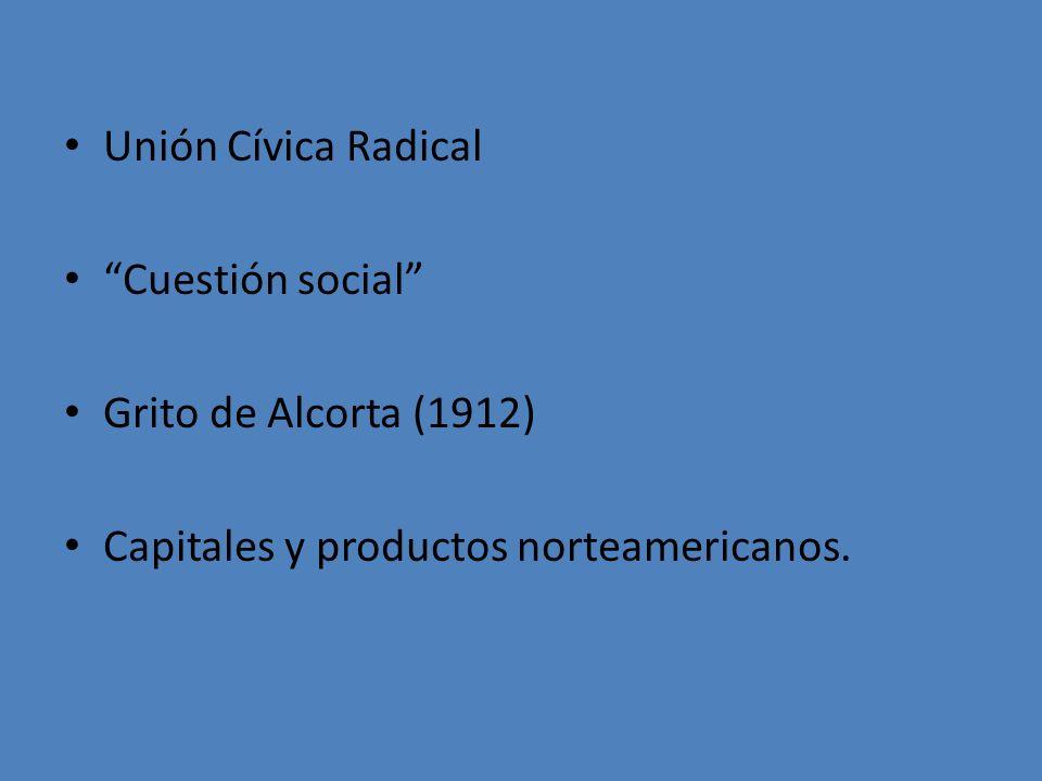 Unión Cívica Radical Cuestión social Grito de Alcorta (1912) Capitales y productos norteamericanos.