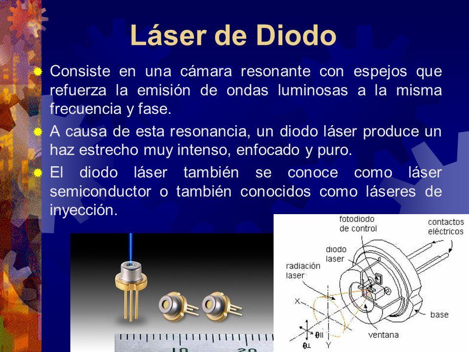 Láser de Diodo Consiste en una cámara resonante con espejos que refuerza la emisión de ondas luminosas a la misma frecuencia y fase.
