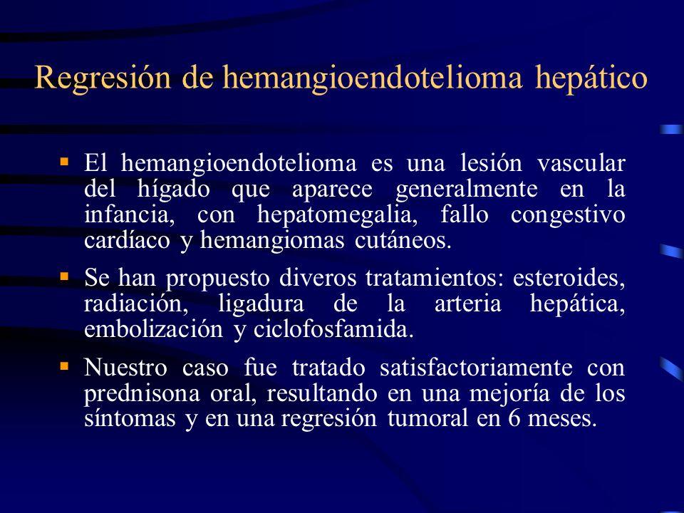 Regresión de hemangioendotelioma hepático