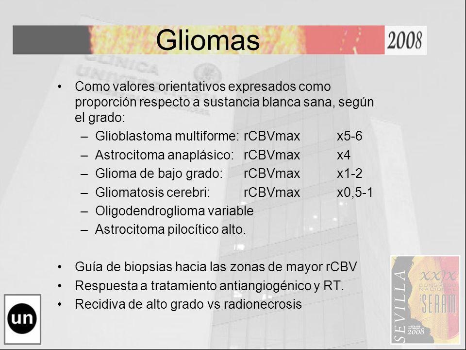 Gliomas Como valores orientativos expresados como proporción respecto a sustancia blanca sana, según el grado: