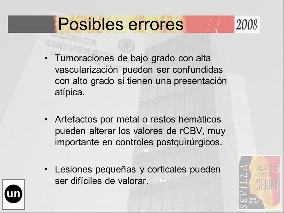 Posibles errores Tumoraciones de bajo grado con alta vascularización pueden ser confundidas con alto grado si tienen una presentación atípica.