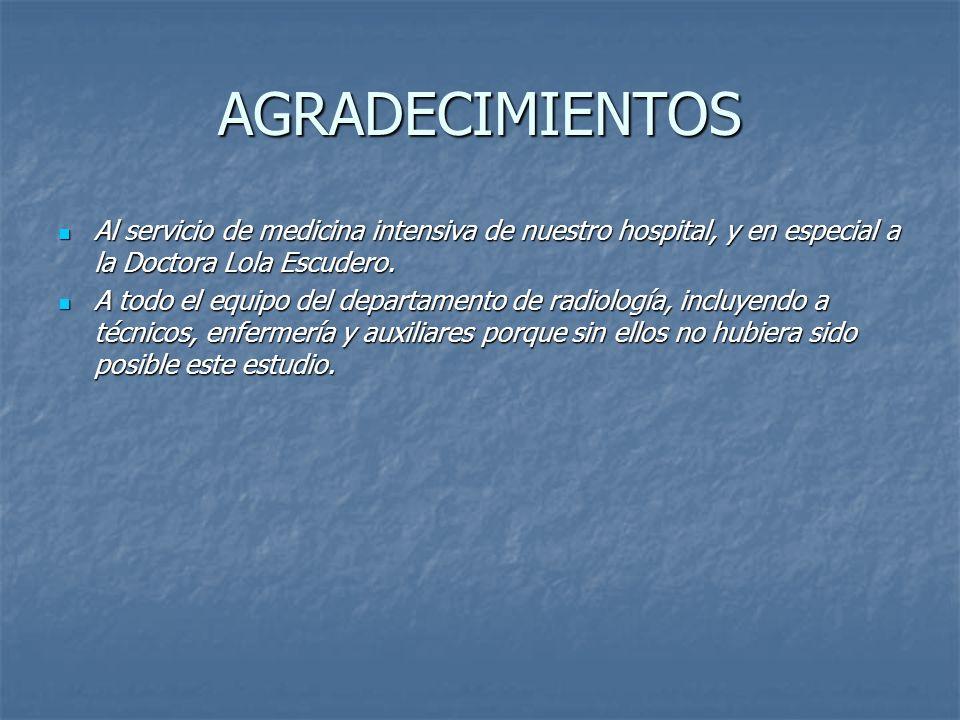 AGRADECIMIENTOS Al servicio de medicina intensiva de nuestro hospital, y en especial a la Doctora Lola Escudero.