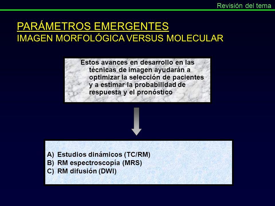 PARÁMETROS EMERGENTES IMAGEN MORFOLÓGICA VERSUS MOLECULAR