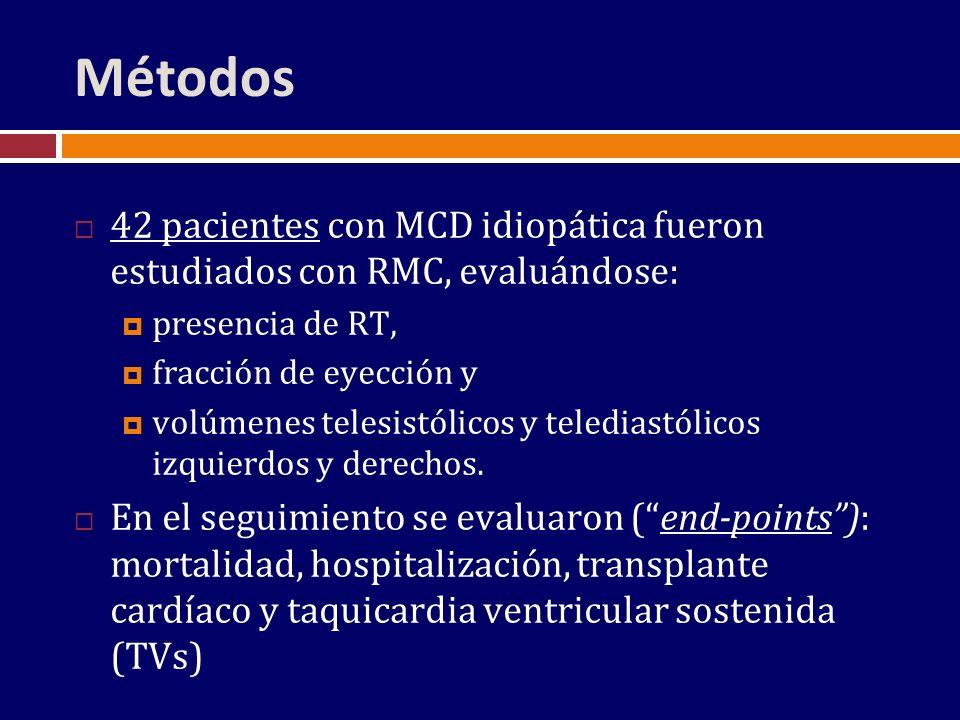Métodos 42 pacientes con MCD idiopática fueron estudiados con RMC, evaluándose: presencia de RT, fracción de eyección y.