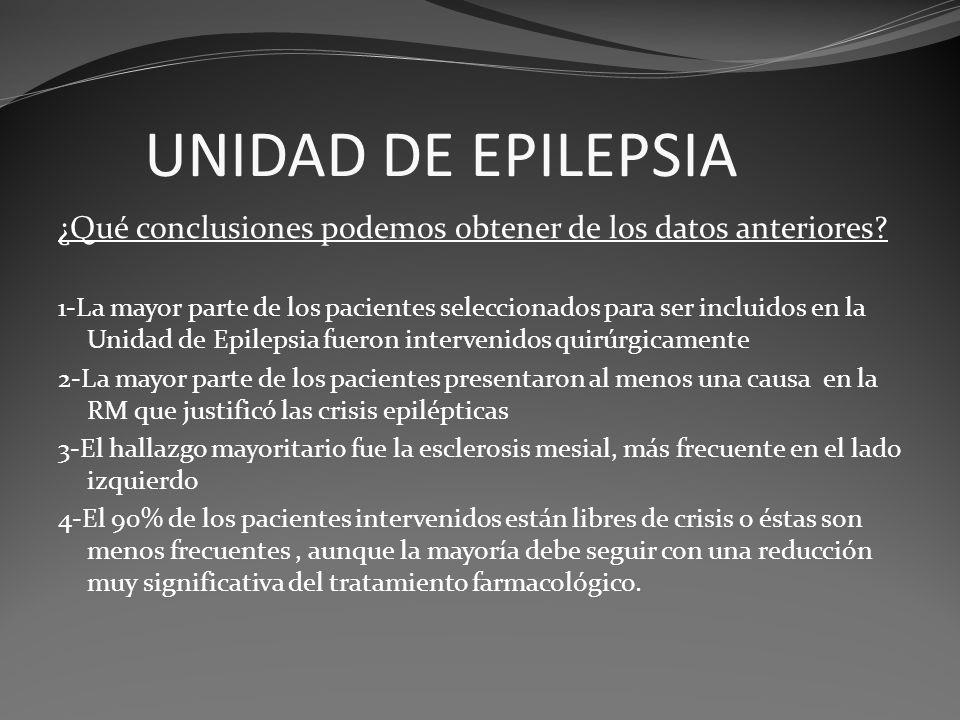 UNIDAD DE EPILEPSIA ¿Qué conclusiones podemos obtener de los datos anteriores