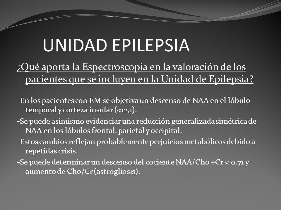 UNIDAD EPILEPSIA ¿Qué aporta la Espectroscopia en la valoración de los pacientes que se incluyen en la Unidad de Epilepsia