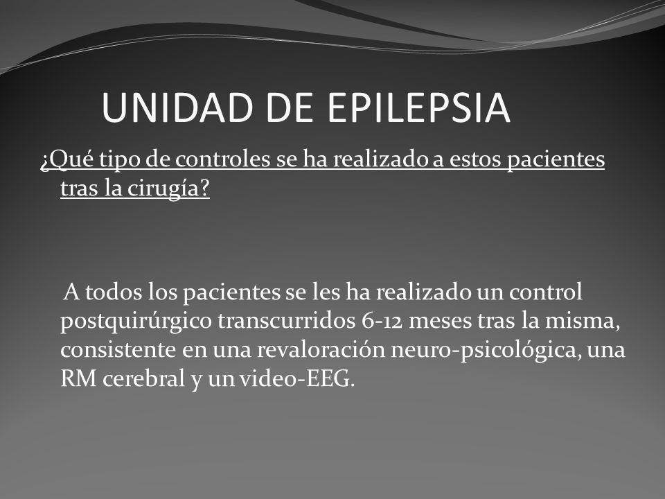 UNIDAD DE EPILEPSIA ¿Qué tipo de controles se ha realizado a estos pacientes tras la cirugía