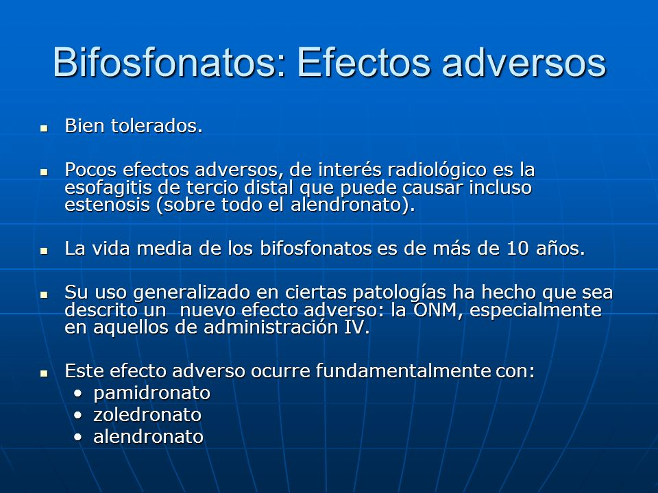 Bifosfonatos: Efectos adversos