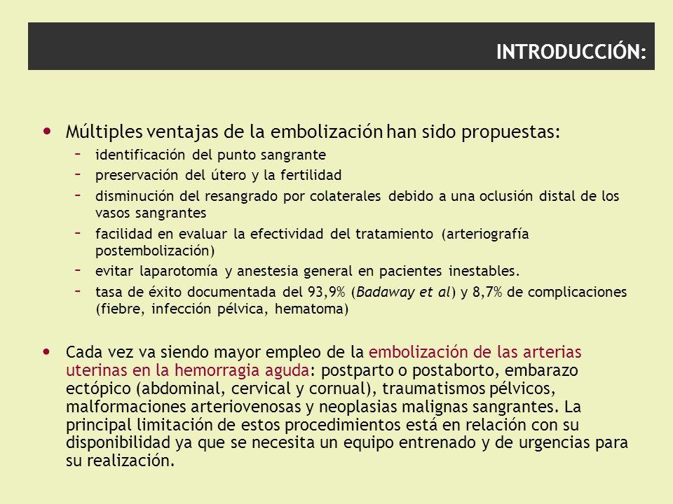 INTRODUCCIÓN: Múltiples ventajas de la embolización han sido propuestas: identificación del punto sangrante.