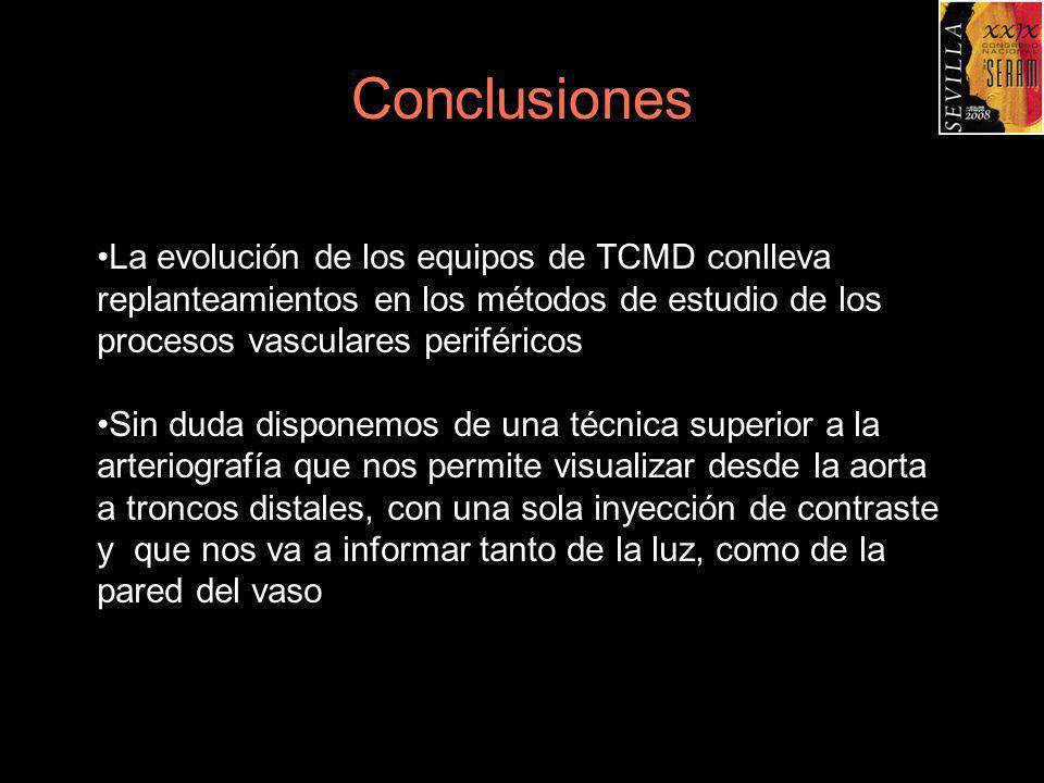 Conclusiones La evolución de los equipos de TCMD conlleva replanteamientos en los métodos de estudio de los procesos vasculares periféricos.