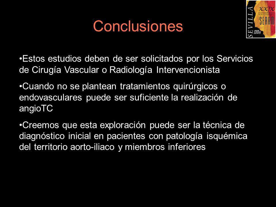 ConclusionesEstos estudios deben de ser solicitados por los Servicios de Cirugía Vascular o Radiología Intervencionista.