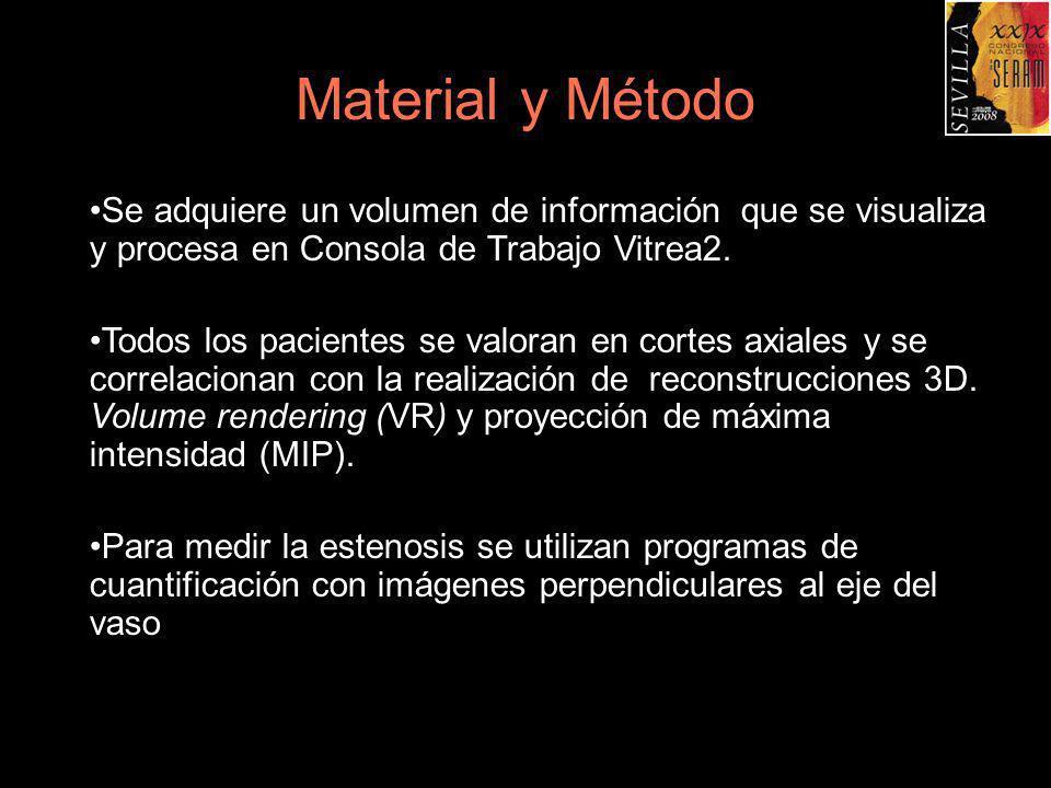 Material y MétodoSe adquiere un volumen de información que se visualiza y procesa en Consola de Trabajo Vitrea2.