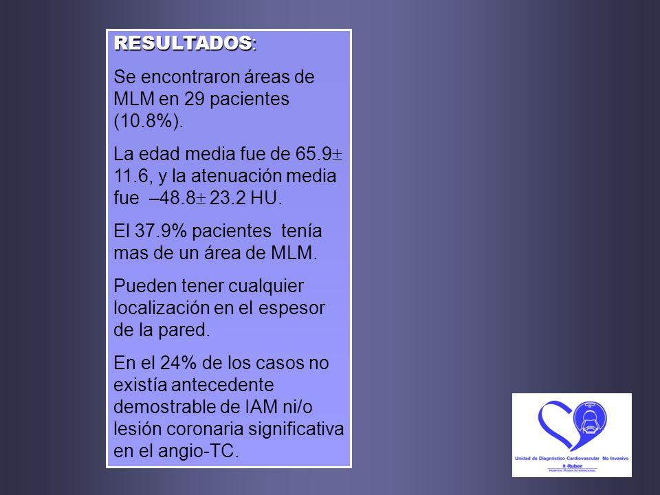 RESULTADOS:Se encontraron áreas de MLM en 29 pacientes (10.8%). La edad media fue de 65.9 11.6, y la atenuación media fue –48.8 23.2 HU.