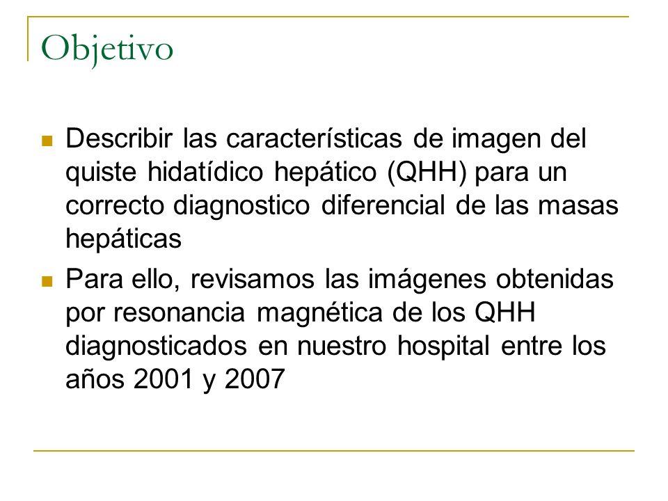Objetivo Describir las características de imagen del quiste hidatídico hepático (QHH) para un correcto diagnostico diferencial de las masas hepáticas.