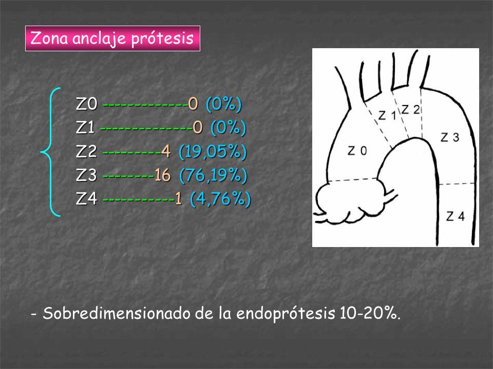 Zona anclaje prótesis Z0 -------------0 (0%) Z1 --------------0 (0%) Z2 ---------4 (19,05%) Z3 --------16 (76,19%)