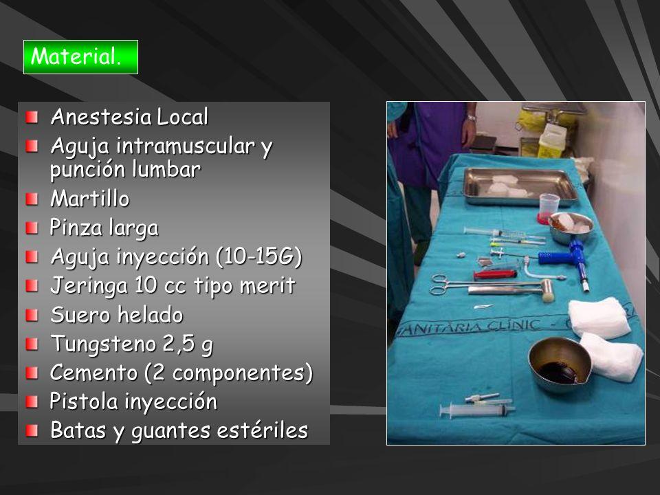Material. Anestesia Local. Aguja intramuscular y punción lumbar. Martillo. Pinza larga. Aguja inyección (10-15G)