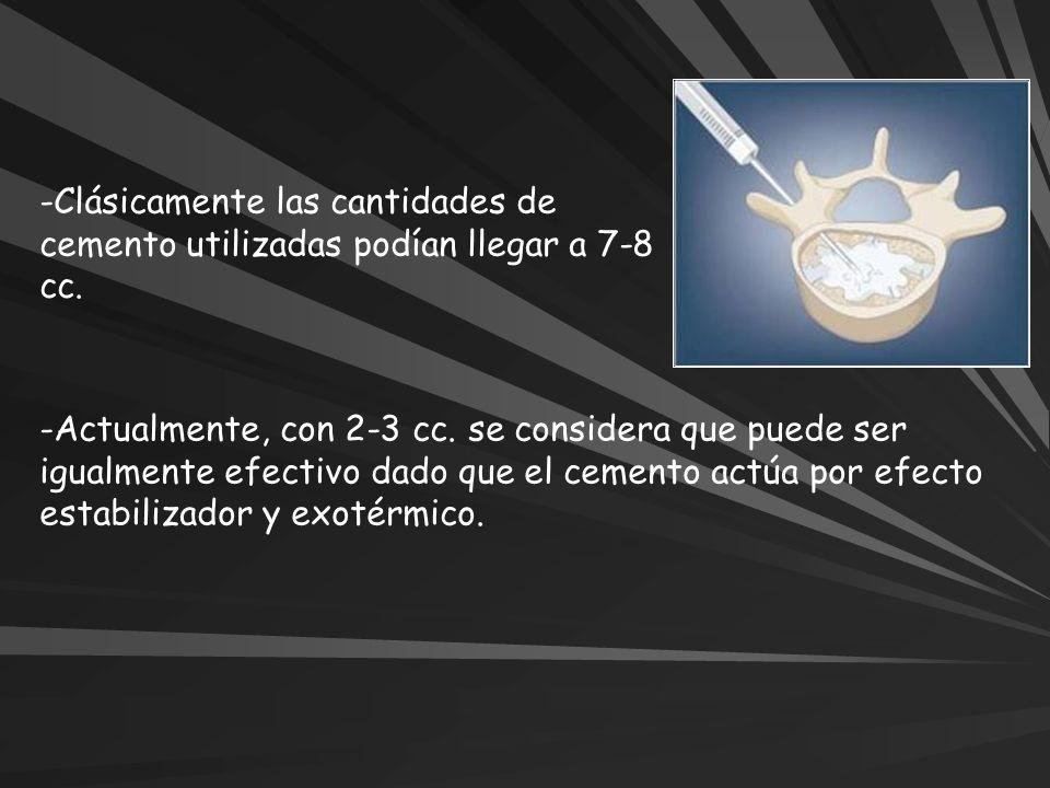 Clásicamente las cantidades de cemento utilizadas podían llegar a 7-8 cc.