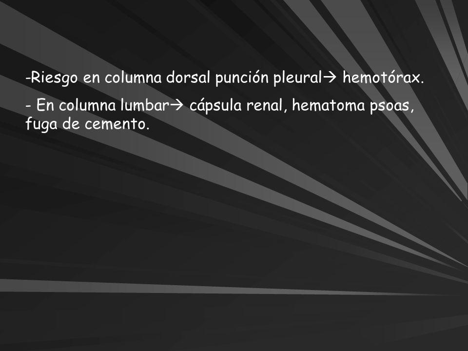 -Riesgo en columna dorsal punción pleural hemotórax.